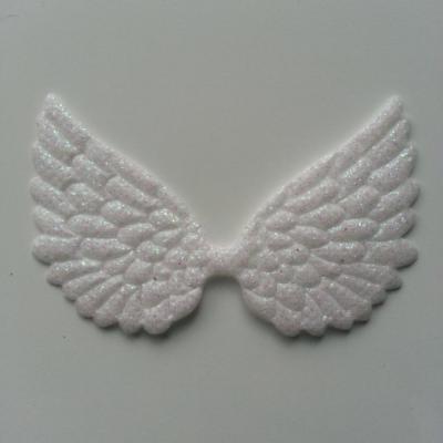 applique ailes d'ange blanc pailletées 70*40mm