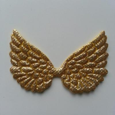 applique ailes d'ange doré, or pailletées 70*40mm