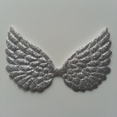applique ailes d'ange argent pailletées 70*40mm
