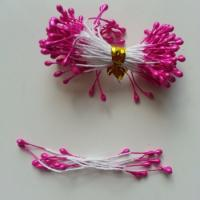 Lot de 10 pistils  tête de 3mm rose fuchsia N11