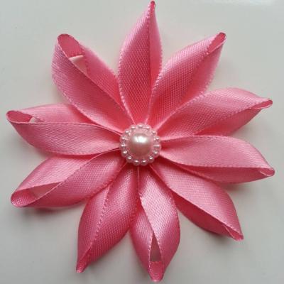 Fleur de satin  7,5cm rose saumoné