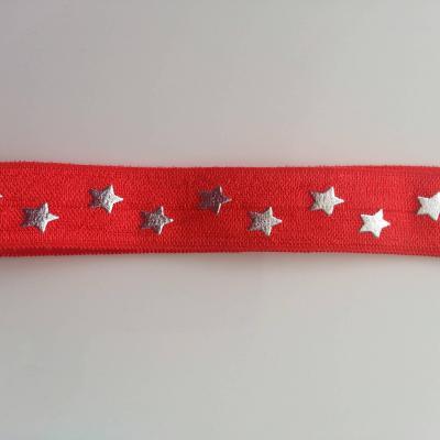 Bandeau élastique rouge etoiles argent