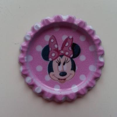 capsule plate en métal tête souris  minnie rose 35mm