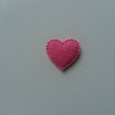 Coeur en feutre matelassé  épaisseur 1mm   32*32mm rose