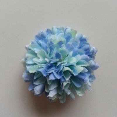 Fleur  pompon en tissu  bleu et verte 50mm