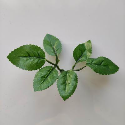 mini double tige de 6 feuilles artificielles vertes