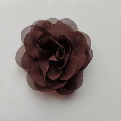 fleur de pavot en mousseline 80mm marron