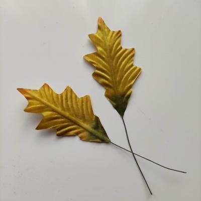 Lot de 2 feuilles artificielles marron clair   sur tige  75mm
