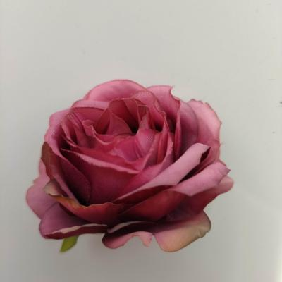 rose artificielle en tissu 50mm  bordeaux