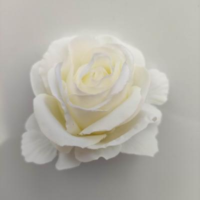 rose artificielle en tissu 50mm ivoire