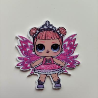cabochon en resine poupée LOL papillon rose   45*45mm