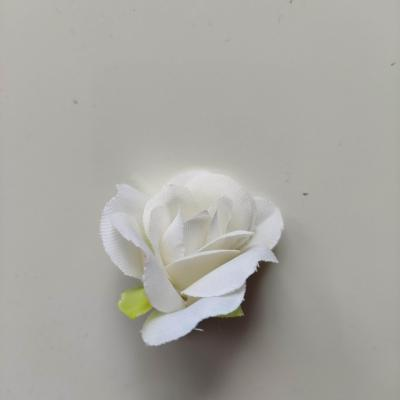fleur rose artificielle  en tissu 35mm blanc
