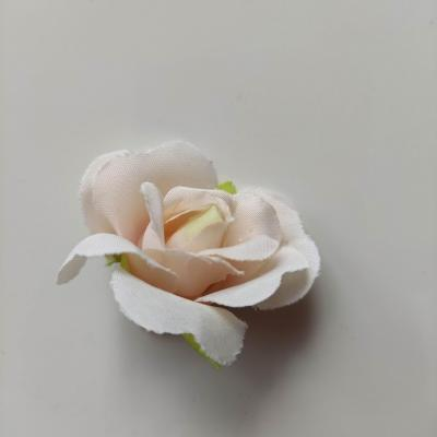 fleur rose artificielle  en tissu 35mm ivoire et peche