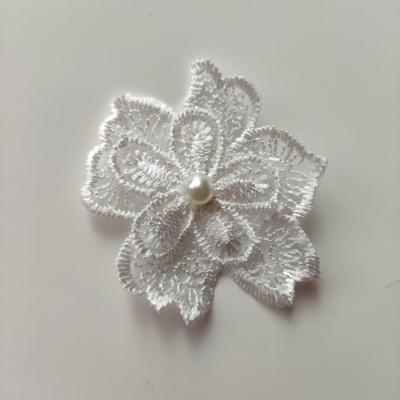 Double fleur en dentelle blanc 50mm (2)