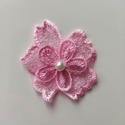 Double fleur en dentelle rose 50mm (3)