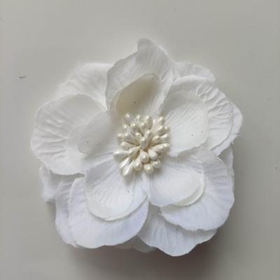 fleur en tissu et pistils 80mm ivoire