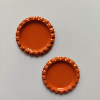 lot de 2 capsules  en métal pour cabochons de 25mm orange