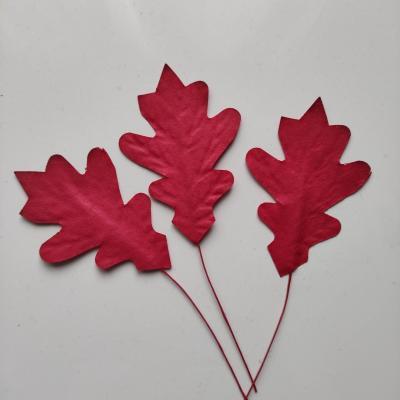 lot de 3 feuilles en papier sur tige rouge 80*50mm