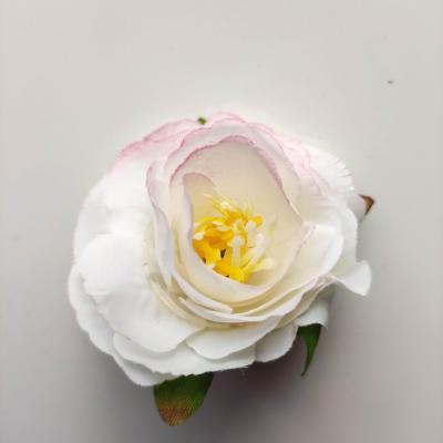 jolie fleur artificielle en tissu de 50mm ivoire et rose