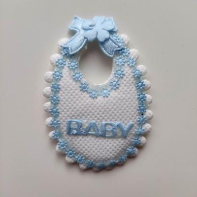 embellissement bavoir en tissu blanc et bleu 65*45mm