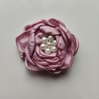 fleur satin de soie centre perle 55mm violine
