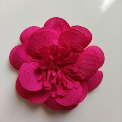 fleur mousseline avec pistils  60mm rose fuchsia