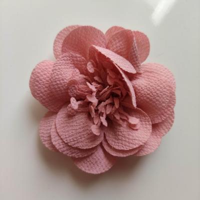 fleur mousseline avec pistils  60mm vieux rose