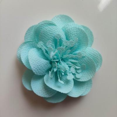 fleur mousseline avec pistils  60mm vert eau