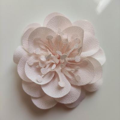 fleur mousseline avec pistils  60mm rose pale