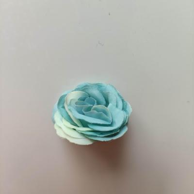 Fleur  en tissu  30mm vert bleu