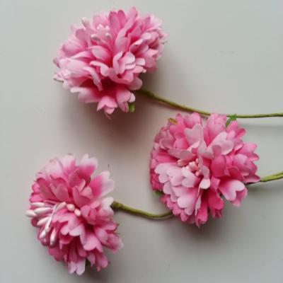 lot de 3 fleurs en tissu et pistils sur tige 40mm rose