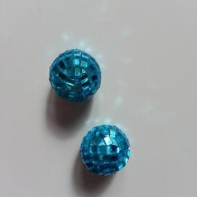 Lot de 2 boules miroir  20mm bleu