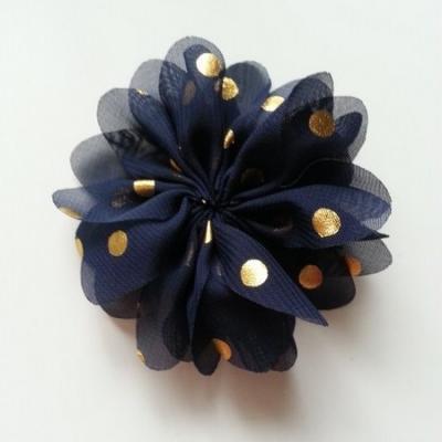 Applique fleur  à pois doré bleu marine 80mm