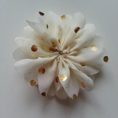 Applique fleur  à pois doré  ivoire 80mm