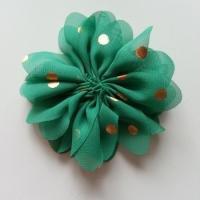 Applique fleur  à pois doré vert 80mm