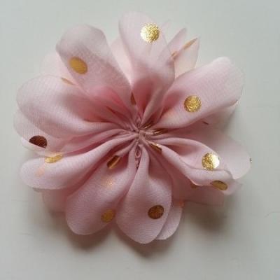 Applique fleur  à pois doré  rose pâle  80mm