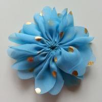 Applique fleur  à pois doré  bleu 80mm