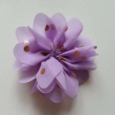 Applique fleur  à pois doré mauve 80mm