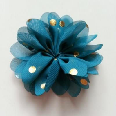 Applique fleur  à pois doré vert /bleu 80mm