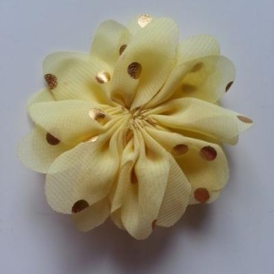 Applique fleur  à pois doré  jaune 80mm
