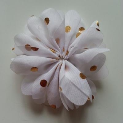 Applique fleur  à pois doré  blanc 80mm