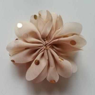 Applique fleur  à pois doré  beige 80mm