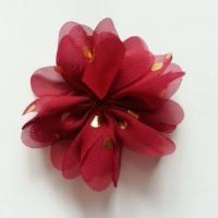 Applique fleur  à pois doré bordeaux  80mm