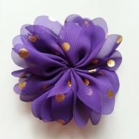 Applique fleur  à pois doré violet 80mm