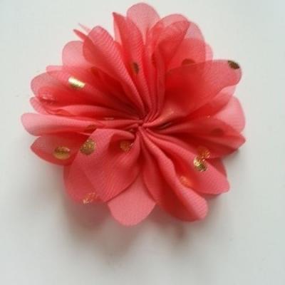 Applique fleur  à pois doré  saumon 80mm