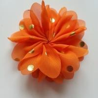 Applique fleur  à pois doré orange  80mm