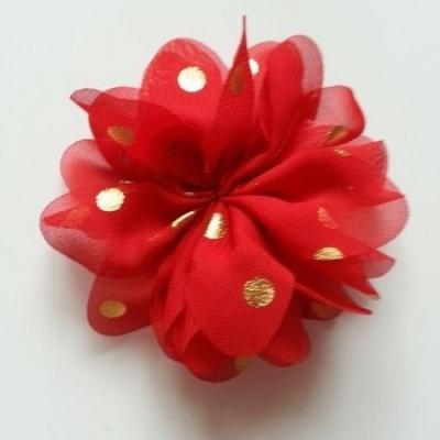 Applique fleur  à pois doré  rouge 80mm
