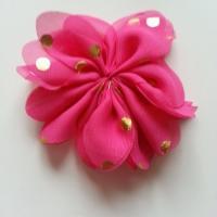 Applique fleur  à pois doré  rose fuchsia 80mm