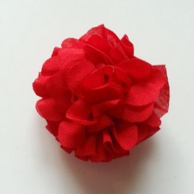 Applique fleur  pompon rouge 70mm
