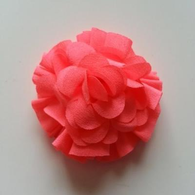Applique fleur  pompon orange 70mm